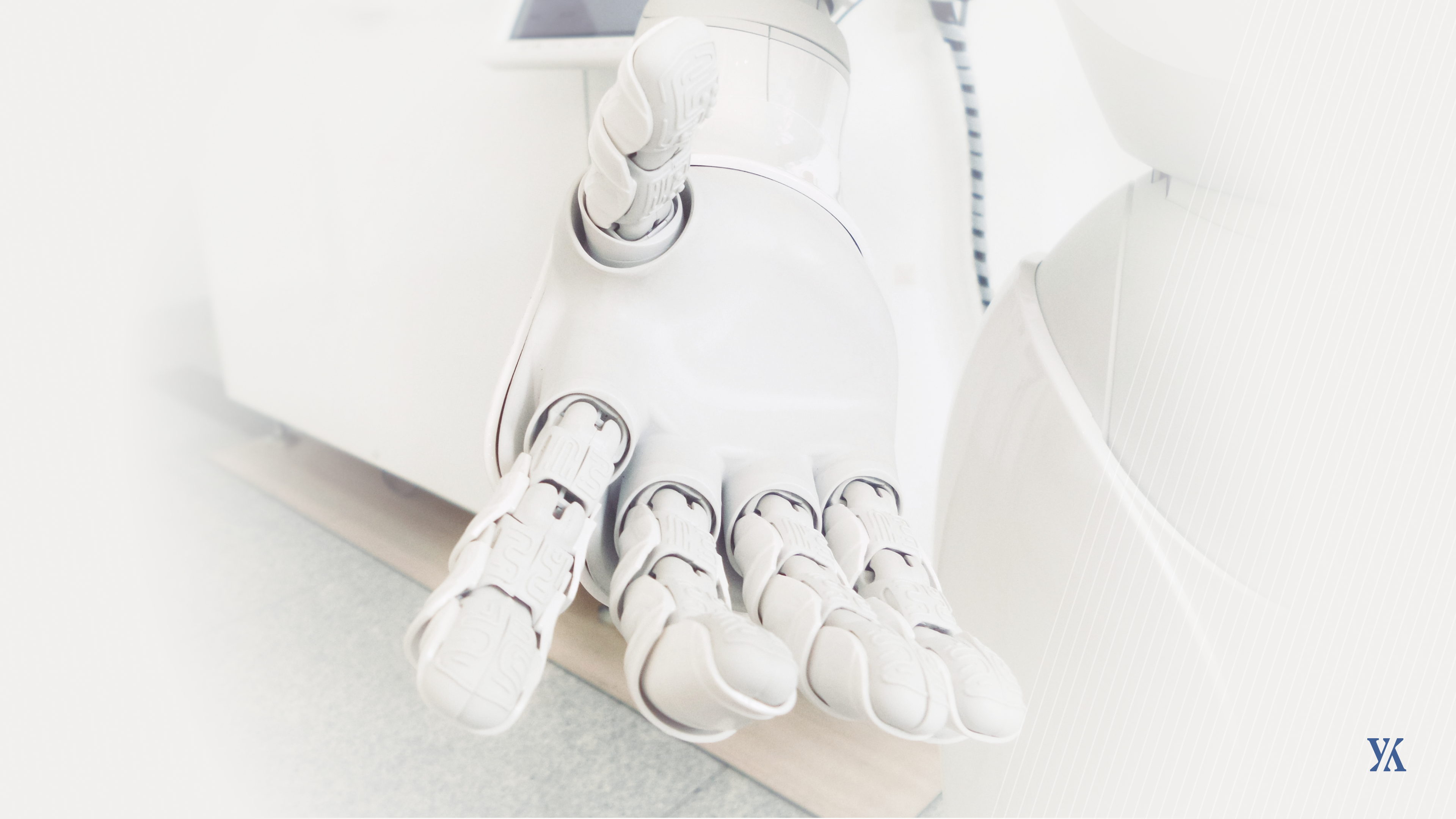 A banner of an AI robot reaching out to help