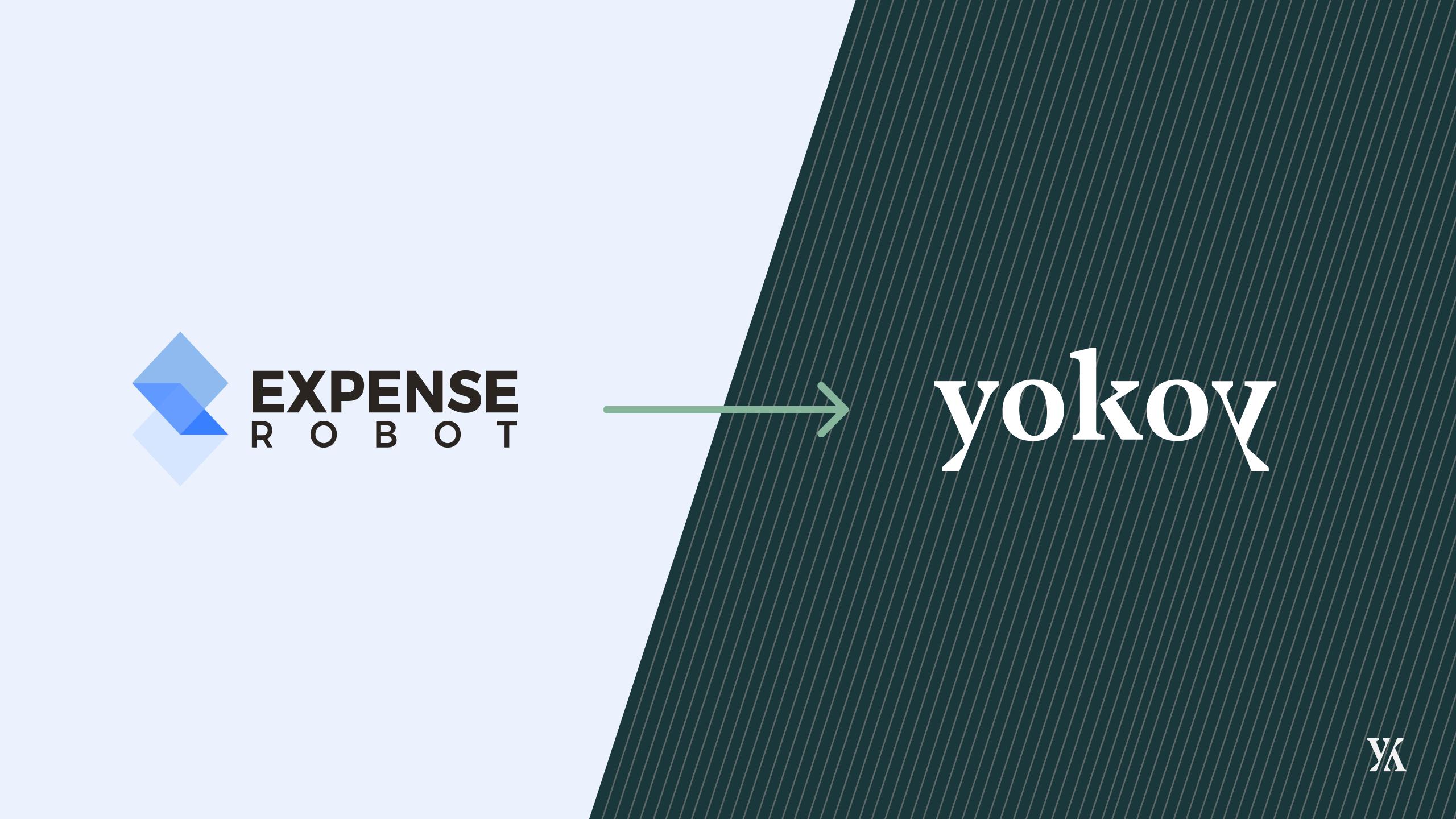 Banner announcing the rebranding of Expense Robot to Yokoy