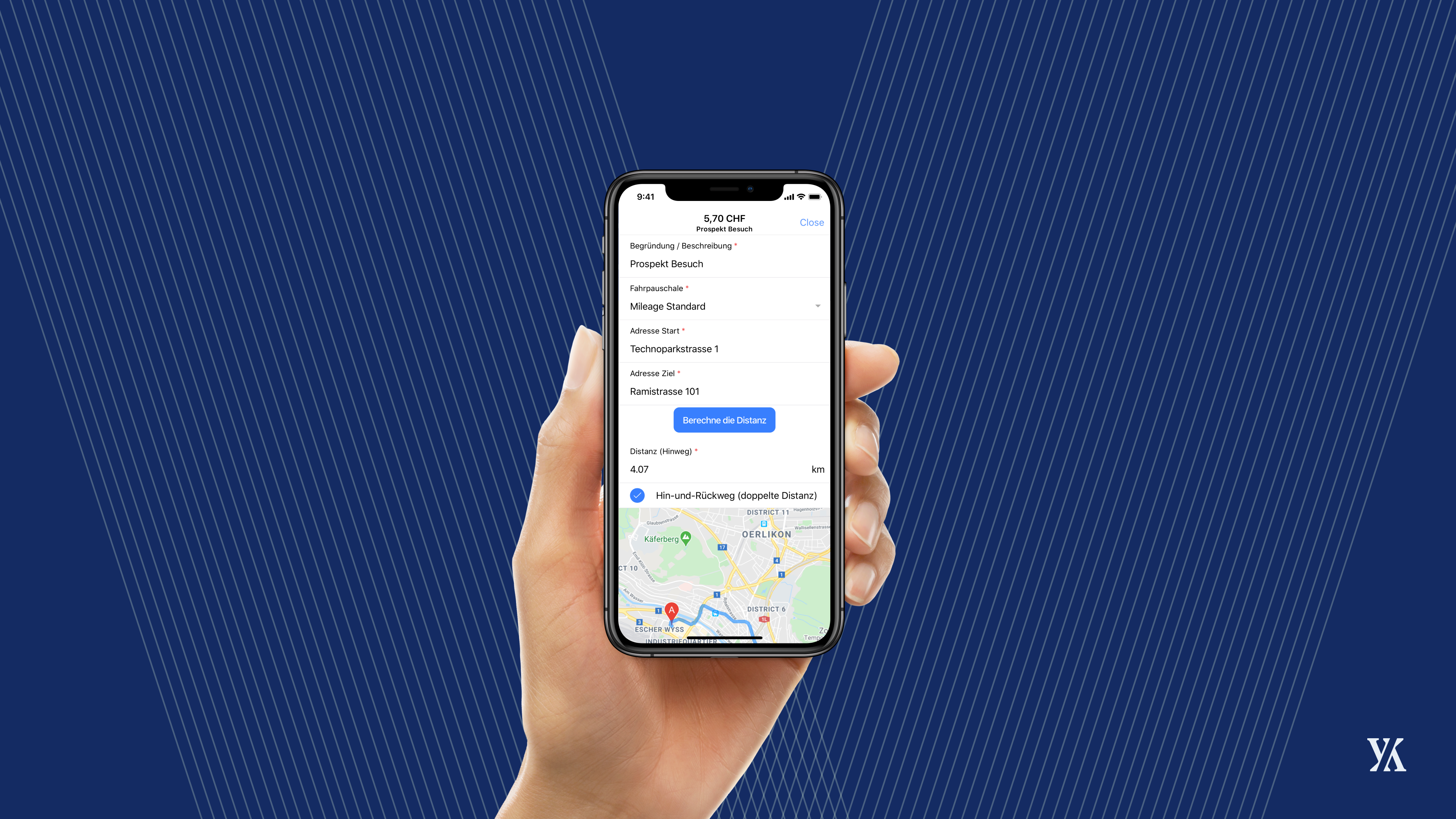 Google Maps mileage tracking banner