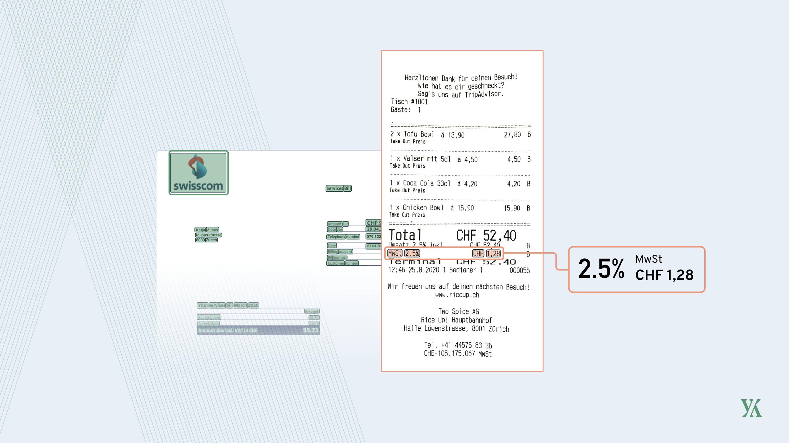 Ein Beleg mit hervorgehobener MwSt und einer Rechnung im Hintergrund