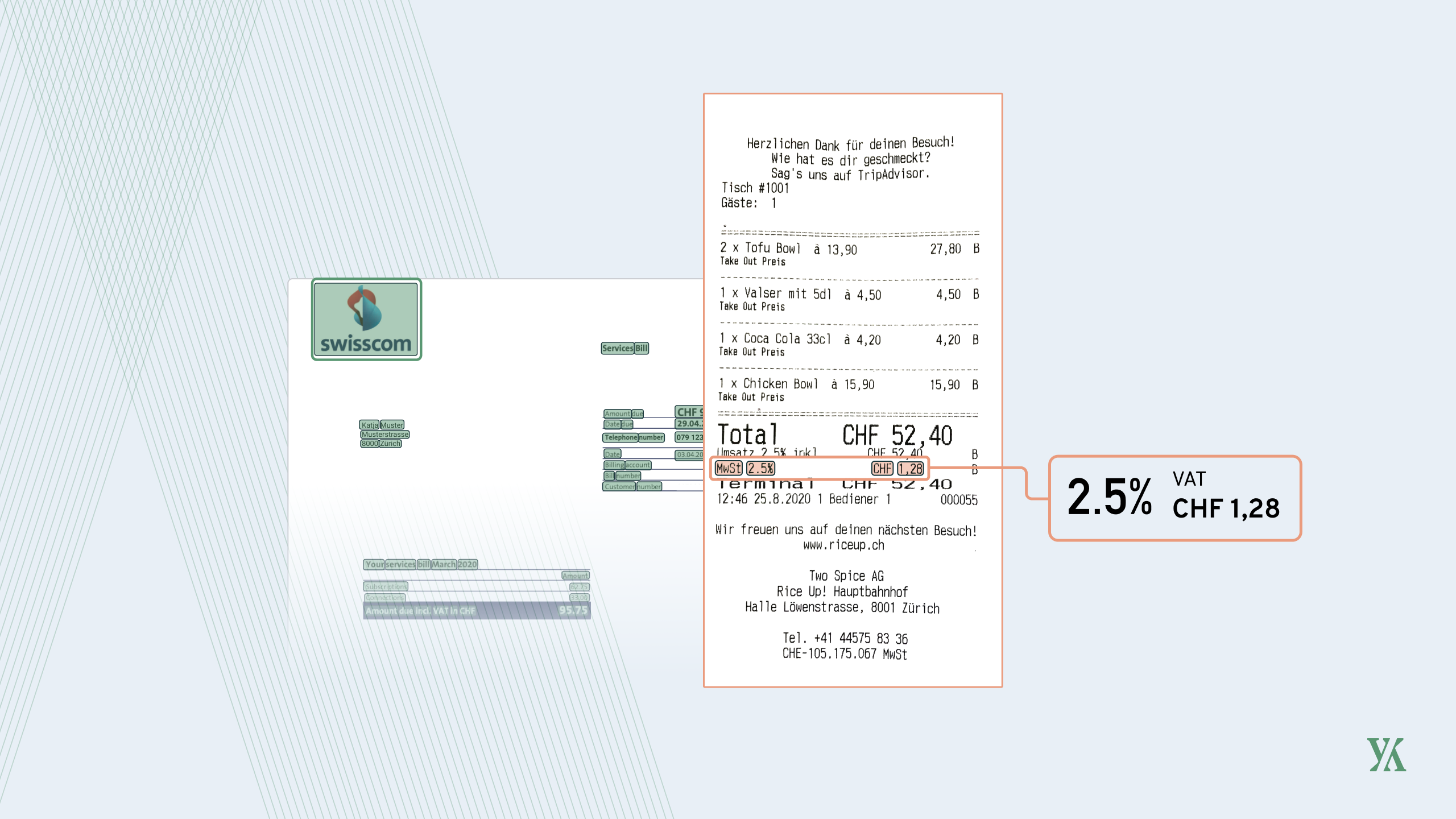 Header image with receipt showing VAT read out