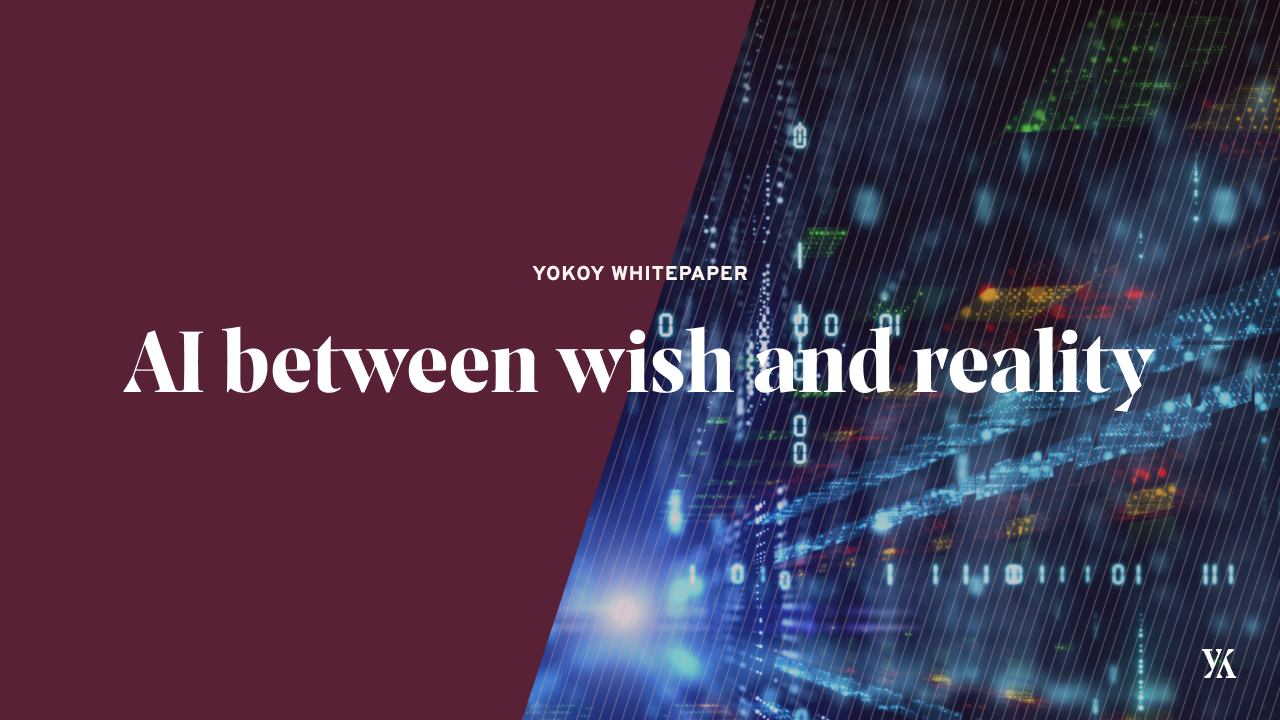Cover image with text: AI between wish and reality